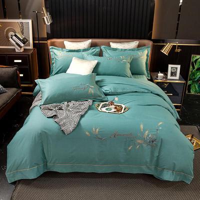 2021新款13372喷气全棉60s简约轻奢刺绣夹棉床盖款四件套(轻语时光系列) 1.8m床盖款四件套 轻语时光-果绿