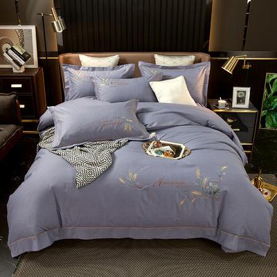 2021新款13372喷气全棉60s简约轻奢刺绣夹棉床盖款四件套(轻语时光系列) 1.8m床盖款四件套 轻语时光-灰紫