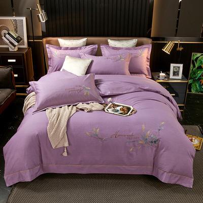 2021新款13372喷气全棉60s简约轻奢刺绣夹棉床盖款四件套(轻语时光系列) 1.8m床盖款四件套 轻语时光-紫色