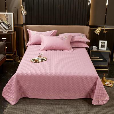 2021新款13372喷气全棉60s简约轻奢刺绣夹棉床盖(轻语时光系列) 245cmx250cm单床盖 轻语时光-豆沙