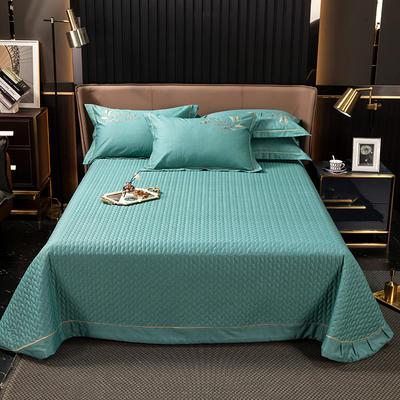 2021新款13372喷气全棉60s简约轻奢刺绣夹棉床盖(轻语时光系列) 245cmx250cm单床盖 轻语时光-果绿
