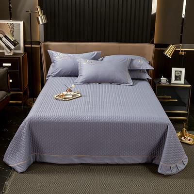 2021新款13372喷气全棉60s简约轻奢刺绣夹棉床盖(轻语时光系列) 245cmx250cm单床盖 轻语时光-灰紫