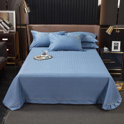 2021新款13372喷气全棉60s简约轻奢刺绣夹棉床盖(轻语时光系列) 245cmx250cm单床盖 轻语时光-普兰