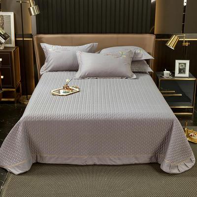 2021新款13372喷气全棉60s简约轻奢刺绣夹棉床盖(轻语时光系列) 245cmx250cm单床盖 轻语时光-烟灰