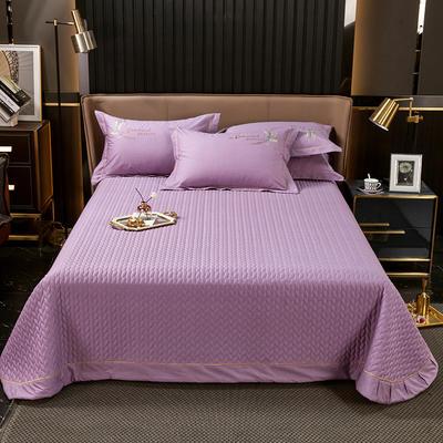 2021新款13372喷气全棉60s简约轻奢刺绣夹棉床盖(轻语时光系列) 245cmx250cm单床盖 轻语时光-紫色