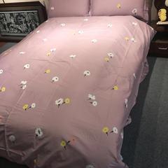 13372全棉活性印染四件套 1.5m床 雏菊花海-粉
