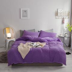 北欧风冬季纯色格子简约针织珊瑚绒四件套加厚保暖法莱绒被套床单床品 1.5m(5英尺)床 丁香紫-格子