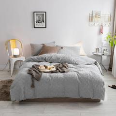 北欧风冬季纯色格子简约针织珊瑚绒四件套加厚保暖法莱绒被套床单床品 1.5m(5英尺)床 奶奶灰-格子