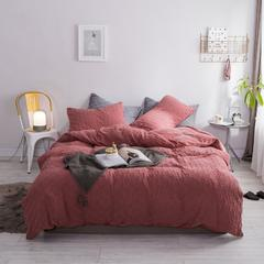 北欧风冬季纯色格子简约针织珊瑚绒四件套加厚保暖法莱绒被套床单床品 1.5m(5英尺)床 藕粉色-格子