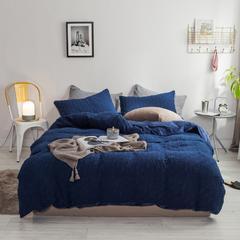 北欧风冬季纯色格子简约针织珊瑚绒四件套加厚保暖法莱绒被套床单床品 1.5m(5英尺)床 深海蓝-格子