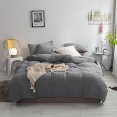 北欧风冬季纯色格子简约针织珊瑚绒四件套加厚保暖法莱绒被套床单床品 1.5m(5英尺)床 烟熏灰-格子