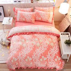 5d雕花绒玉浮绒四件套 1.2米床 含苞待放-橙