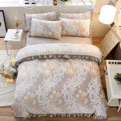 5d雕花绒玉浮绒四件套 1.2米床 含苞待放-灰