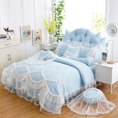 贡缎提花韩版四件套-贡缎甜心公主 1.2米床(三件套) 蓝