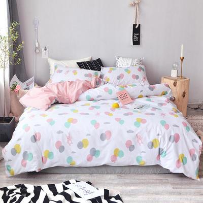 2018新款全棉四件套全棉粉色系小清新北欧风叶子三件套四件套床单款床笠 1.35m床单款 告白气球