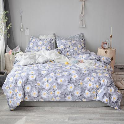 2018新款全棉四件套全棉粉色系小清新北欧风叶子三件套四件套床单款床笠 1.8m床笠款 花开朵朵