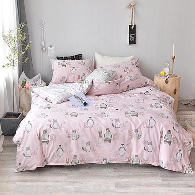 2018新款全棉四件套全棉粉色系小清新北欧风叶子三件套四件套床单款床笠 1.35m床单款 欢乐玩伴