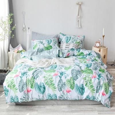 2018新款全棉四件套全棉粉色系小清新北欧风叶子三件套四件套床单款床笠 1.8m床笠款 烈鸟丛林