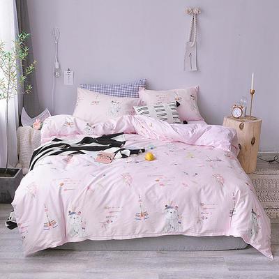 2018新款全棉四件套全棉粉色系小清新北欧风叶子三件套四件套床单款床笠 1.8m床笠款 满满爱