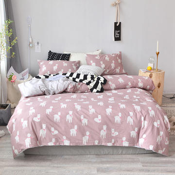 2018新款全棉四件套全棉粉色系小清新北欧风叶子三件套四件套床单款床笠