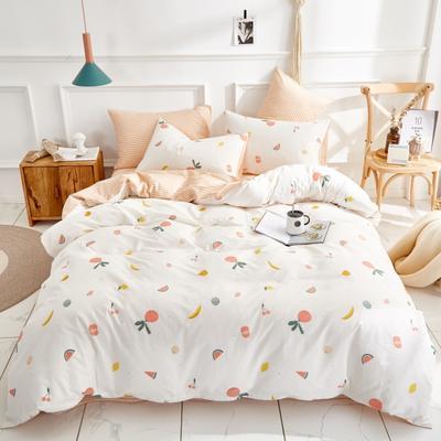 全棉粉色系小清新北欧风叶子三件套四件套床单款床笠 1.8m床笠款 缤纷果园