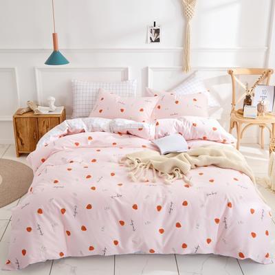 全棉粉色系小清新北欧风叶子三件套四件套床单款床笠 1.2m床 草莓甜心