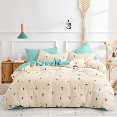 全棉粉色系小清新北欧风叶子三件套四件套床单款床笠 1.2m床 绘景