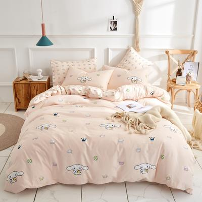 全棉粉色系小清新北欧风叶子三件套四件套床单款床笠 1.5m-1.8m床 可爱多