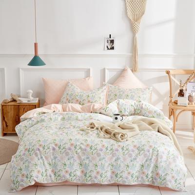 全棉粉色系小清新北欧风叶子三件套四件套床单款床笠 1.8m床笠款 田园