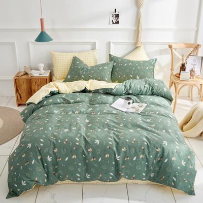 全棉粉色系小清新北欧风叶子三件套四件套床单款床笠 1.2m床 叶凡