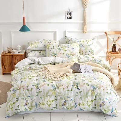 全棉粉色系小清新北欧风叶子三件套四件套床单款床笠 1.8m床笠款 优佳莉