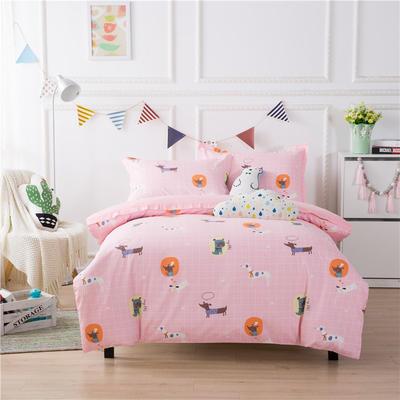 2019新款60长绒棉卡通四件套 1.35m(4.5英尺)床 粉色心情