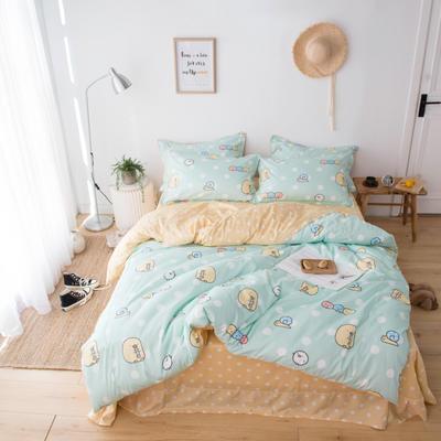 2019新款60长绒棉卡通四件套 1.35m(4.5英尺)床 糯米团绿