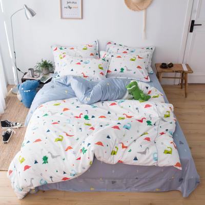 2019新款60长绒棉卡通四件套 1.35m(4.5英尺)床 小恐龙