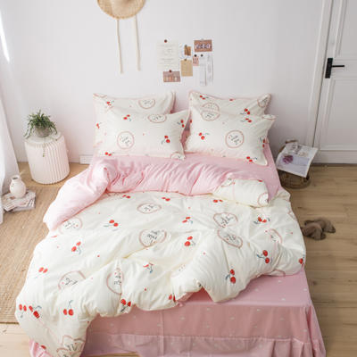 2019新款60长绒棉卡通四件套 1.2m(4英尺)床 小樱桃