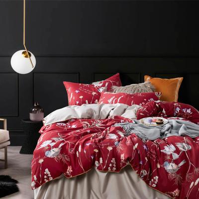 2019新款60长绒棉数码印花四件套 1.5m(5英尺)床 红妆