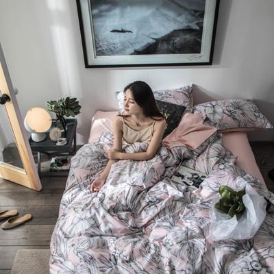 2019新款60長絨棉數碼印花四件套 1.8m(6英尺)床 叢林粉