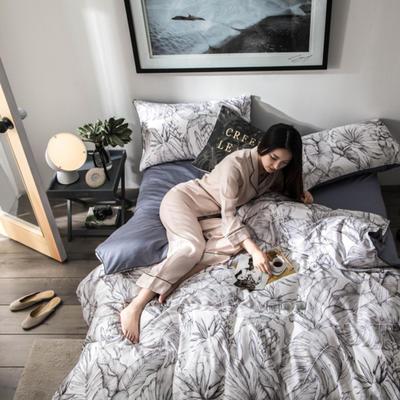 2019新款60长绒棉数码印花四件套 1.5m(5英尺)床 丛林灰