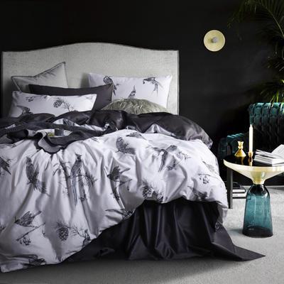 2019新款60長絨棉數碼印花四件套 1.8m(6英尺)床 流年似錦-白