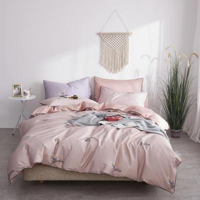 2019新款60長絨棉數碼印花四件套 1.8m(6英尺)床 雨夜蘭 粉