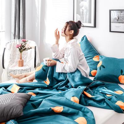 2019新款冰絲綢夏被三件套 枕套48*74/對 多橙意