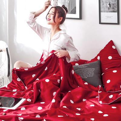 2019新款冰絲綢夏被三件套 枕套48*74/對 靚點紅
