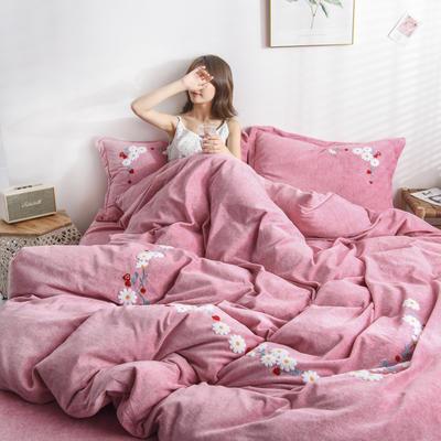 2019新款洋棉绒小清新毛巾绣四件套 1.5m床单款四件套 恋上草莓 粉