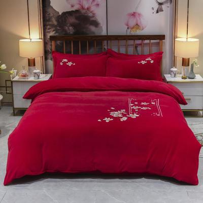 2019新款牛奶绒中式刺绣四件套 1.5m床单款四件套 尊红颜