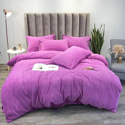 2019新款牛奶绒立体剪花四件套 1.5m床单款四件套 岁岁平安魅紫