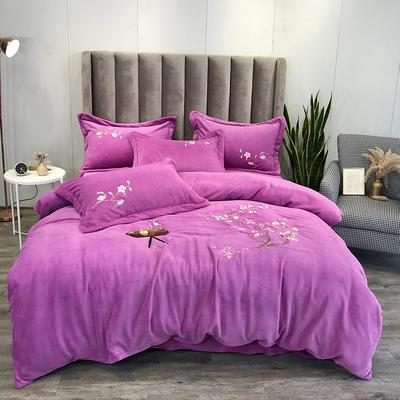 2019新款牛奶绒中式刺绣四件套 1.8m床单款四件套 芳菲紫