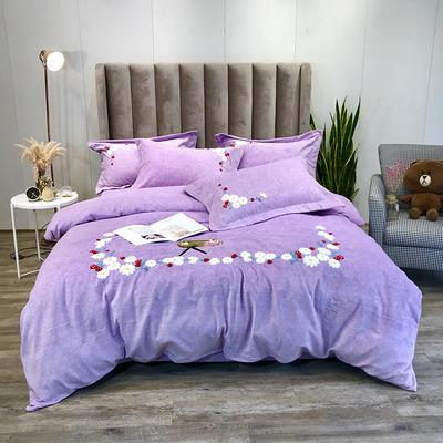 2019新款洋棉绒小清新时尚毛巾绣四件套—实拍图 1.8m床单款四件套 恋上草莓紫