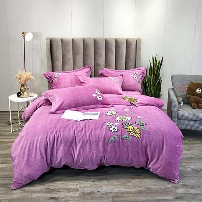 2019新款洋棉绒时尚毛巾绣四件套 1.5m床单款四件套 向阳花开魅紫