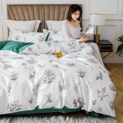 2020新款60支长绒棉数码印花四件套 1.8m(6英尺)床单款 晨暮间白