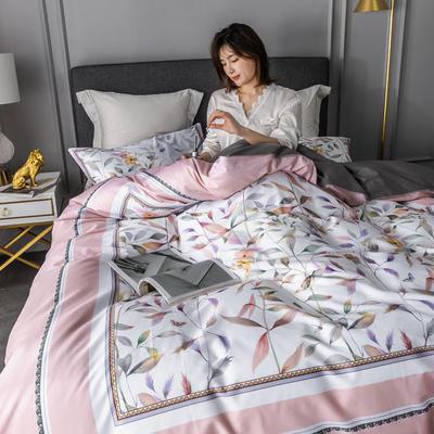 2020新款60支长绒棉数码印花四件套 1.8m(6英尺)床单款 丛林密语粉